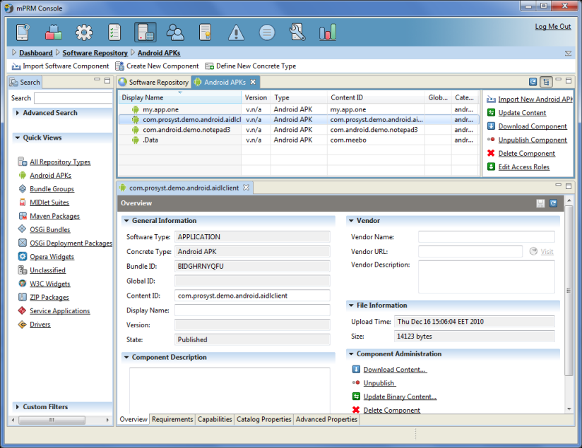 mPower Remote Manager 5 2: Managing Android Packages in the